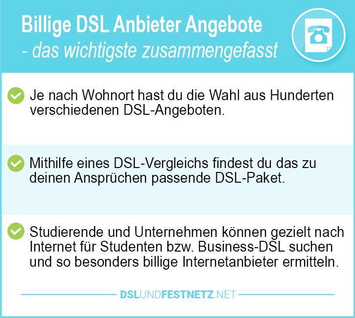 Billige DSL Anbieter Angebote
