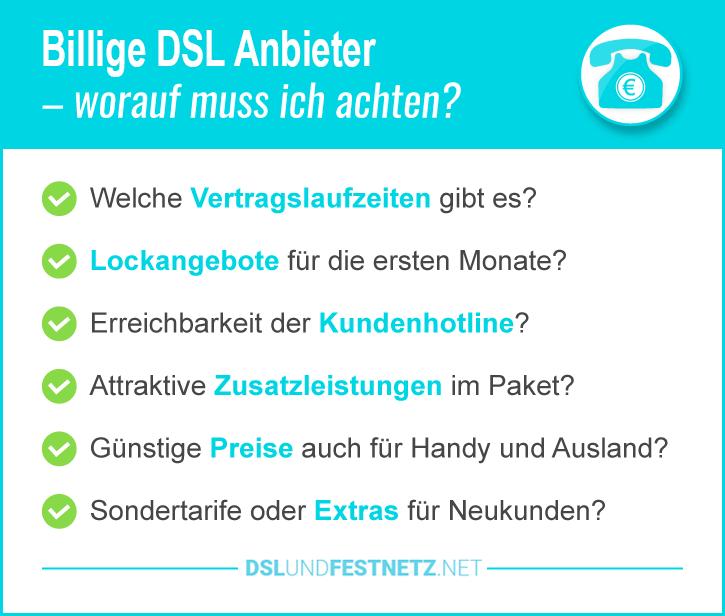 Billige DSL Anbieter